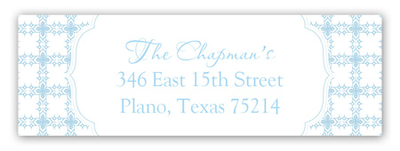 Blue Cross Tile Pattern Address Label