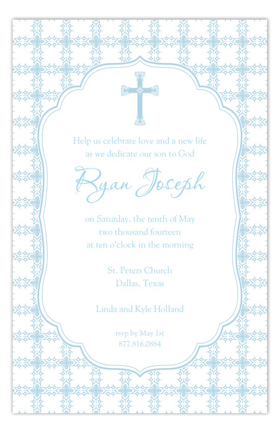 Blue Cross Tile Pattern Boy Baptism Invitations