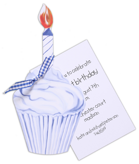 Blue Cupcake Invitation