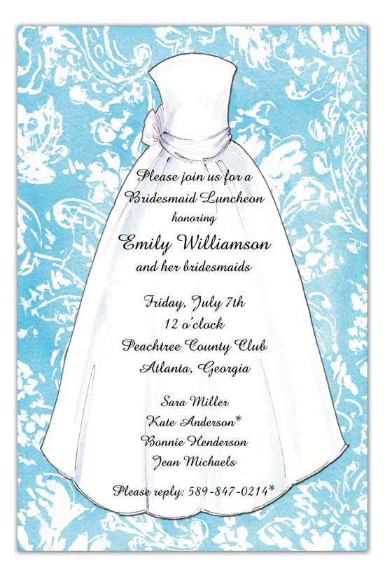 Blue Damask Bride Invitation