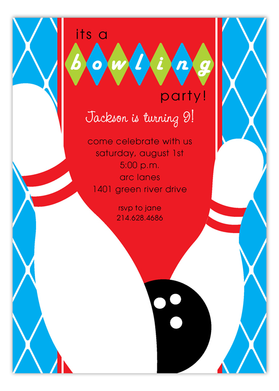 Blue Diamond Bowling Invitation Kids Bowling Birthday Party Invites