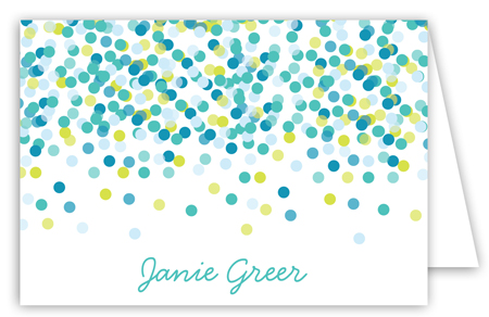 Blue Falling Confetti Folded Note Card
