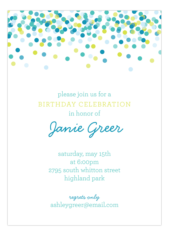 blue falling confetti invitation