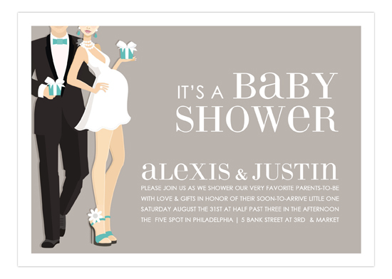 Blue Glamour Couple Baby Shower Invitation Polka Dot Design