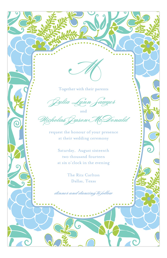 Blue Green Garden Floral Shower Invitations