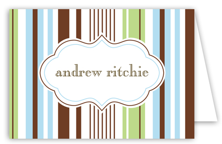 Blue Green Stripes Folded Note Card