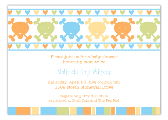 Blue Hearts and Crossbones Invitation