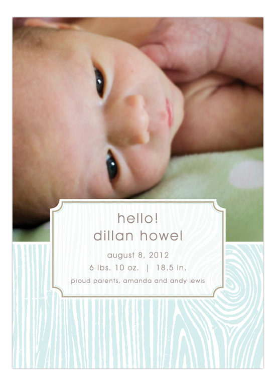 Blue Hello Faux Bois Photo Card