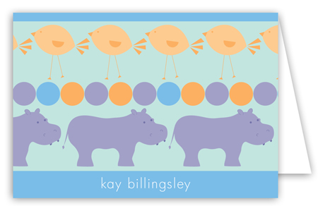 Blue Hippos Folded Note Card