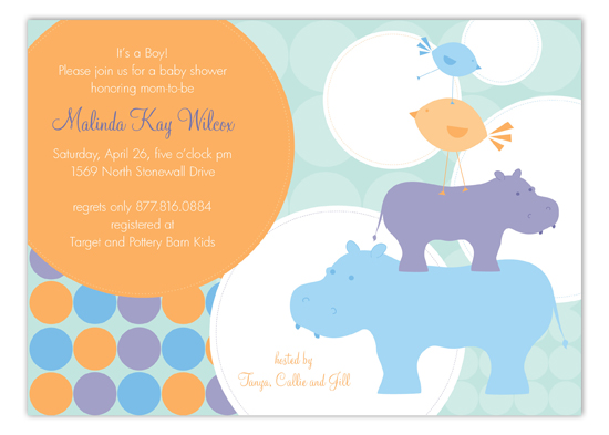 Blue Hippos Invitation