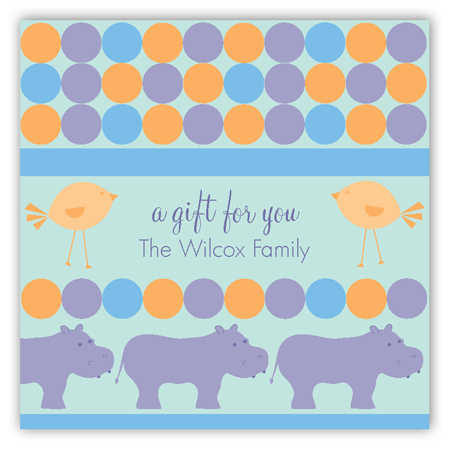 Blue Hippos Square Sticker