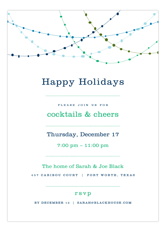 Blue Holiday Swag Invitation