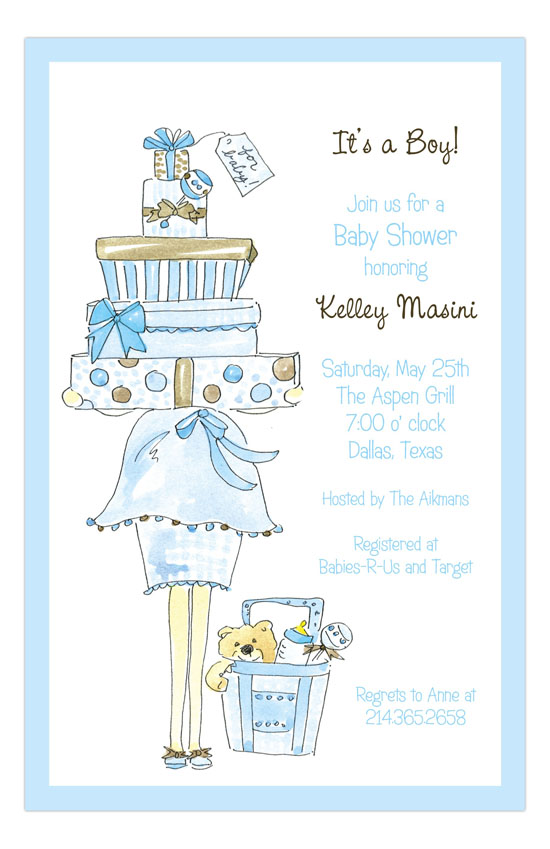 Blue Momma Package Baby Boy Shower Invitations