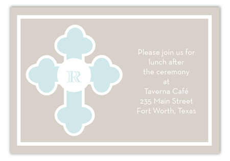 Blue Monogram Cross Enclosure Card