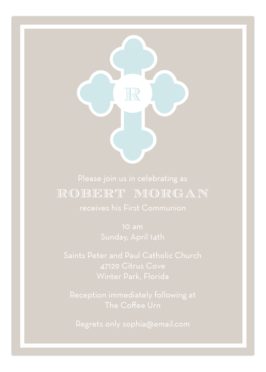 Blue Monogram Cross Invitation