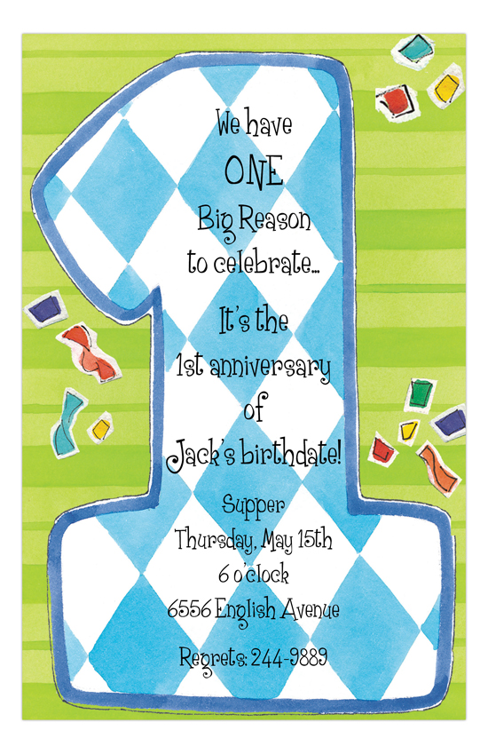 Blue One First Birthday Invitation