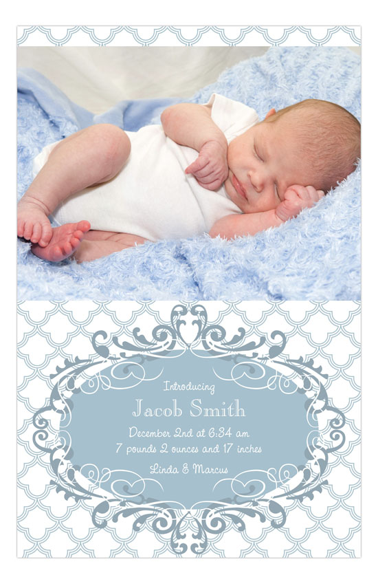 Blue Ornate Pattern Photo Card