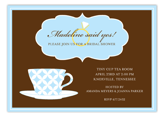 Blue Pattern Cup Tea Party Bridal Shower Invitations