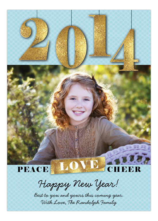 Happy New Year Blue Peace Love Cheer Photo Card
