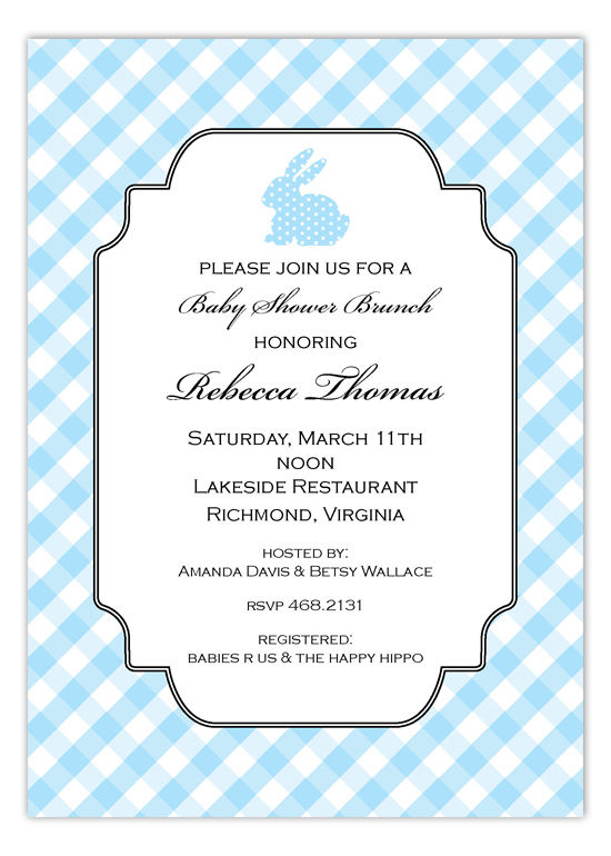 Blue Polka Dot Bunny Invitation