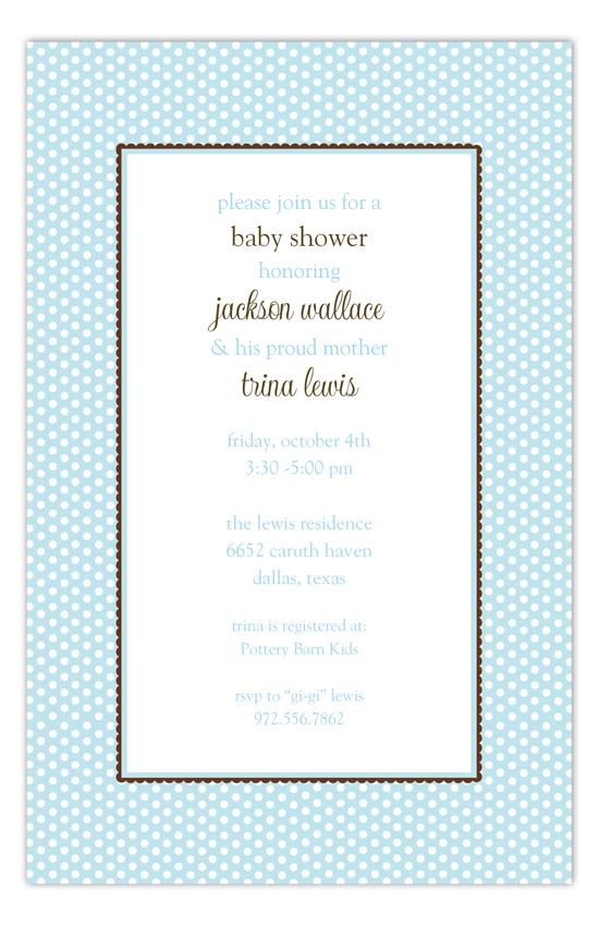 Blue Polka Dots Baby Shower Invitations for Boys
