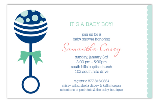 Blue Rattle Invitation