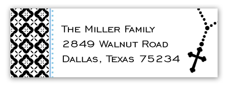 Blue Rosary Beads Address Label
