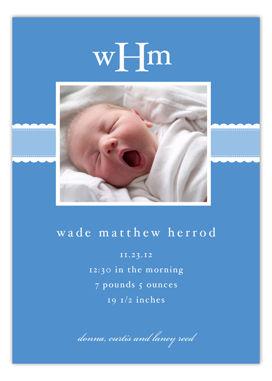 Blue Scallops Boy Birth Announcements