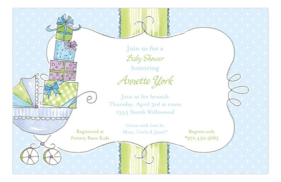 Blue Stroller Invitation