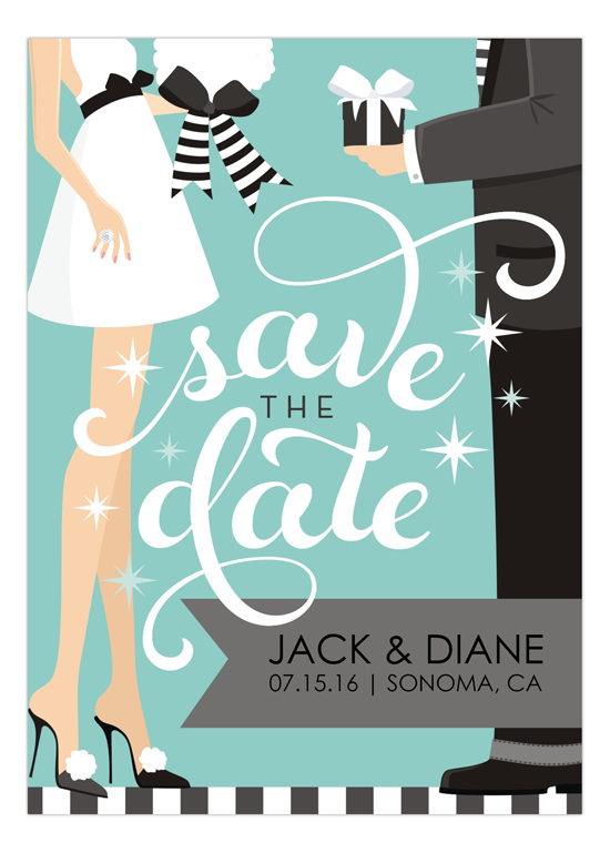 Blue Swirly Save The Date Invitation