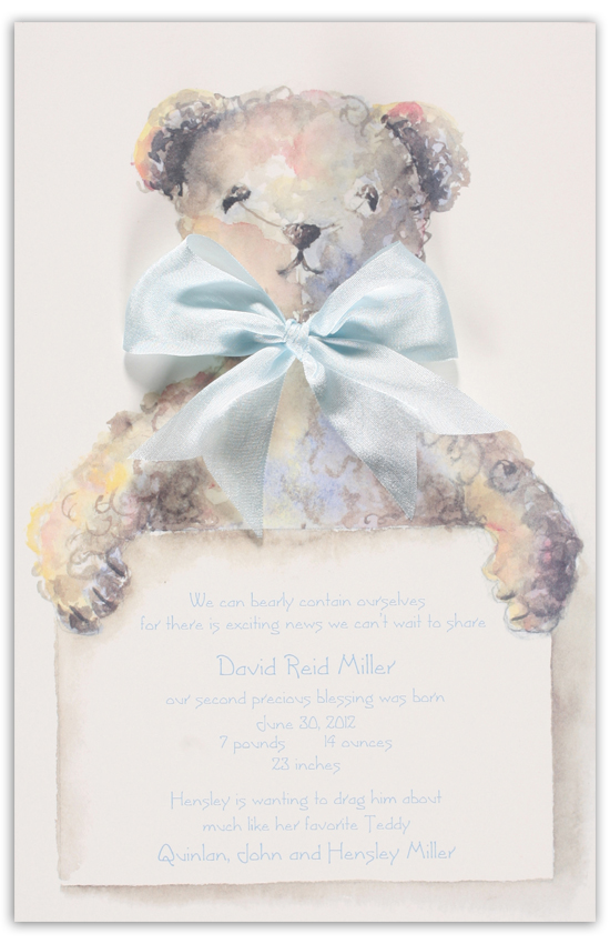 Blue Teddy Bear Invitation