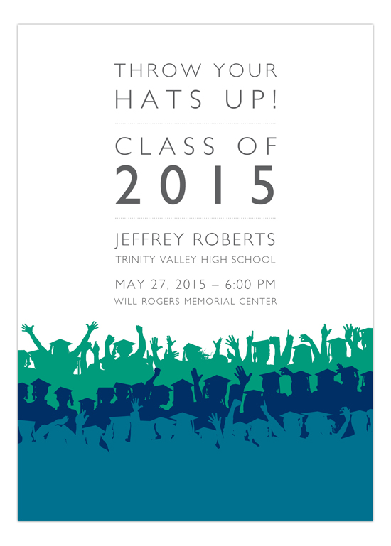 Blue Throw Your Hats Up Invitation