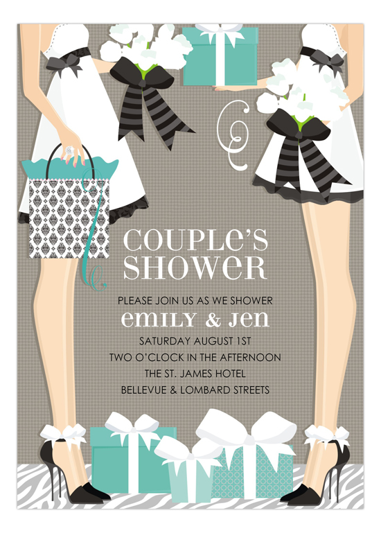 blue two brides classic couple wedding shower invitation