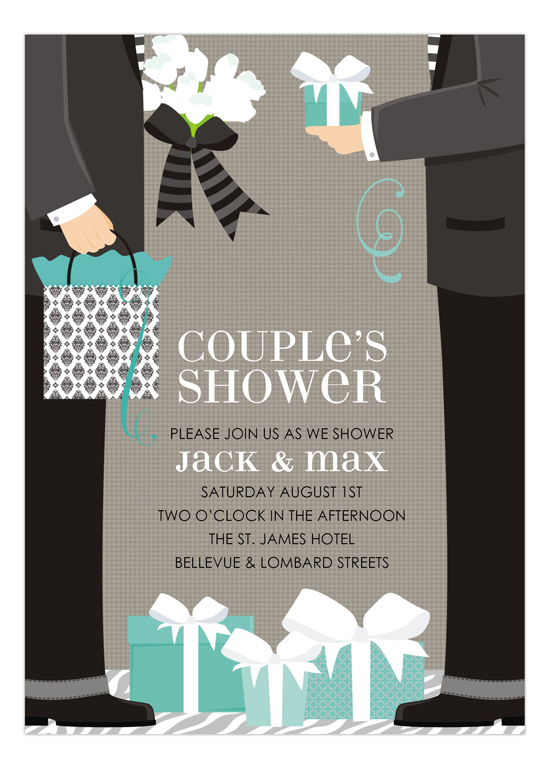 blue two grooms classic couple wedding shower invitation
