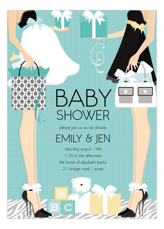 blue two moms classic couple baby shower invitation | polka dot design, Baby shower invitations