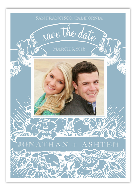 Blue Vintage Cheer Save the Date Photo Cards