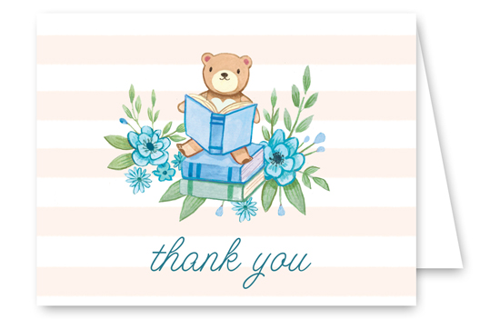 Book Baby Shower Blue Thank You Card
