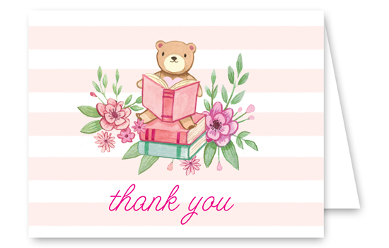 Book Baby Shower Pink Thank You Card