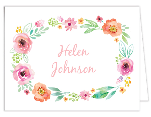 Watercolor Blossom Wreath Pink Thank You