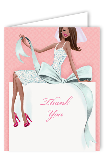 Multicultural Beautiful Bride with Bow Thank You Card