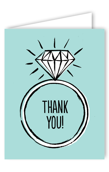 Diamond Ring Blue Bridal Shower Thank You Card