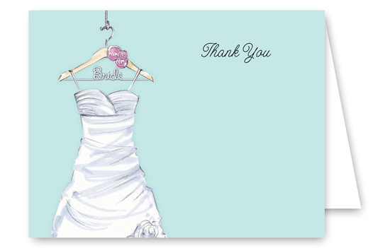 Lovely Wedding Dress Thank You Card