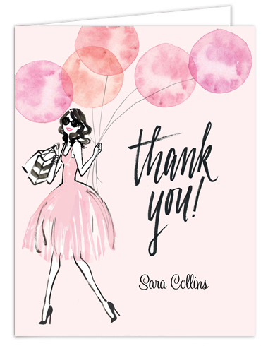 Whimsical Watercolor Balloons Pink Thank You