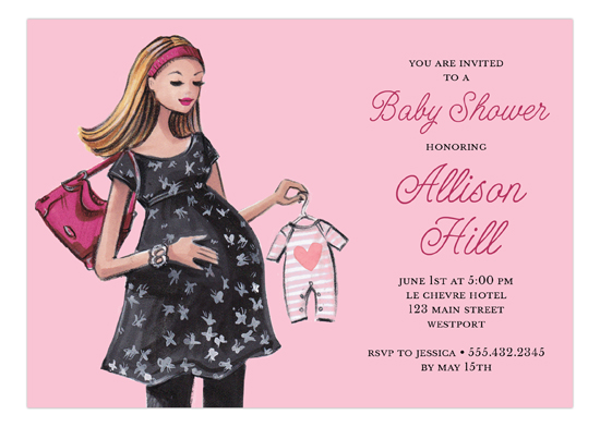 Beautiful Baby Pink Baby Shower Invitation for Girls