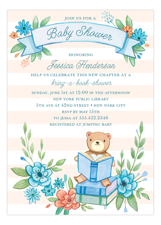 Book Baby Shower Invitation for Boys