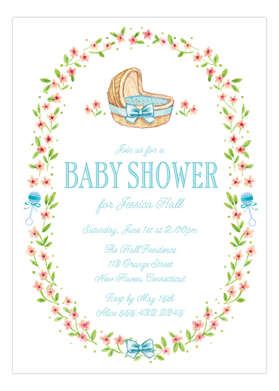 Wildflower Blue Bassinet Invitation for Boys