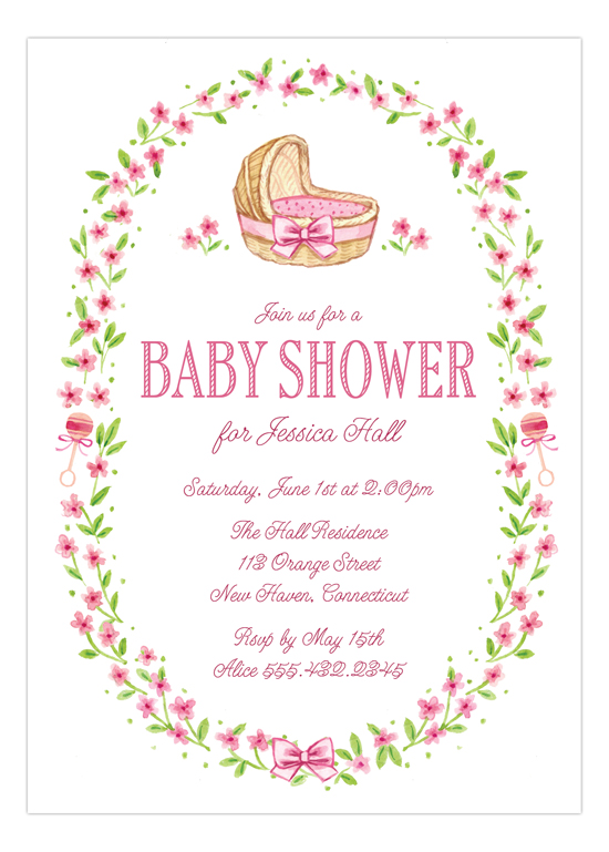 Wildflower Pink Bassinet Invitation for Girls