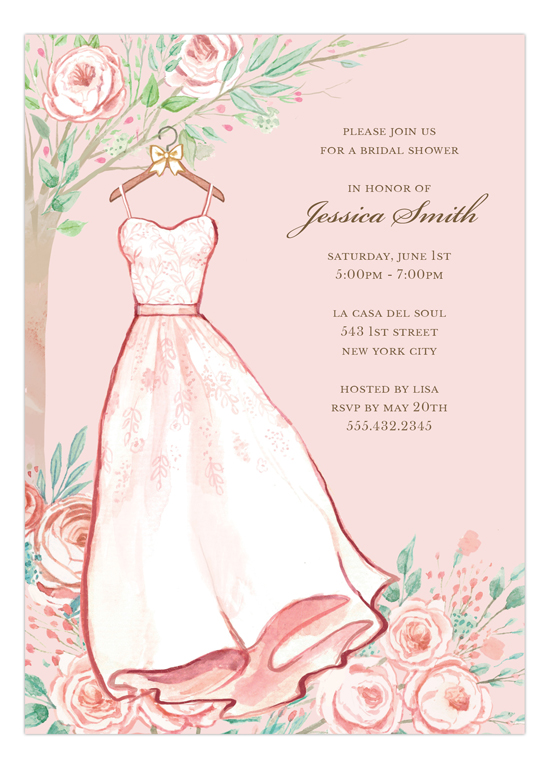 Blush Rose Dress Bridal Shower Invitation