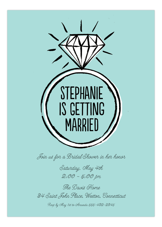 Diamond Ring Blue Bridal Shower Invitation