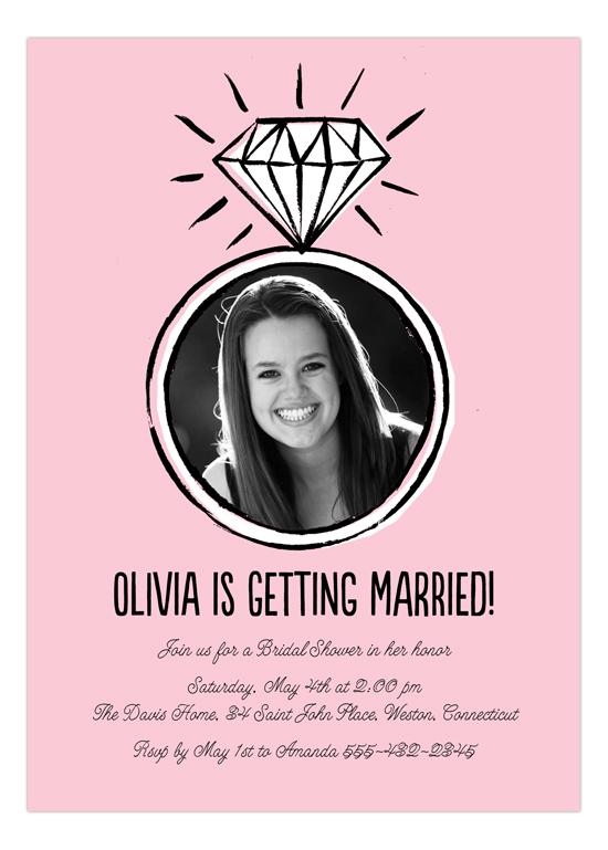 Diamond Ring Bridal Shower Photo Invitation
